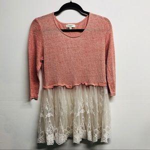 Umgee Large lace pink boho top